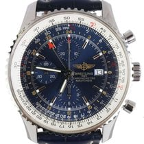 Breitling Navitimer World pre-owned 46mm Blue Chronograph Date Crocodile skin