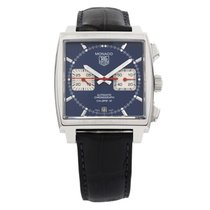 TAG Heuer Monaco Calibre 12 pre-owned 39mm Blue Chronograph Date Crocodile skin