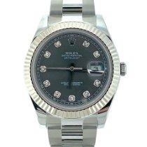 Rolex Silber Automatik Silber Keine Ziffern 41mm gebraucht Datejust II