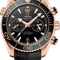 Omega Or rose Remontage automatique Noir Sans chiffres 45.5mm nouveau Seamaster Planet Ocean Chronograph