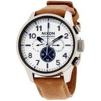 Nixon Safari Silver Dial Leather Strap Men's Watch A1082209200