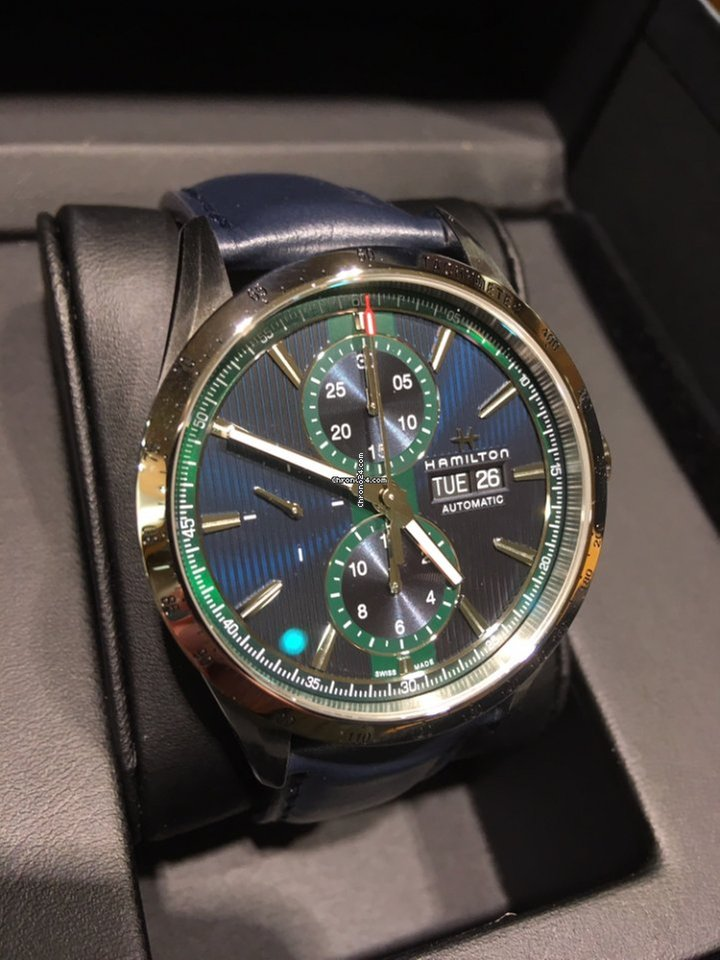 Hamilton Broadway Day Date Auto Chrono Blue Green Leather 43mm
