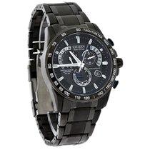 Citizen Eco-Drive Mens Perpetual Calendar Black SS Watch...