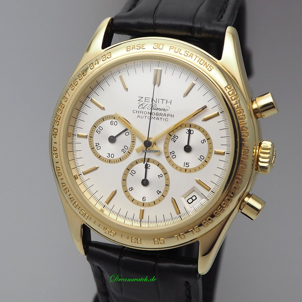 zenith el primero chronograph 18k 750 gold pulsmeter. Black Bedroom Furniture Sets. Home Design Ideas