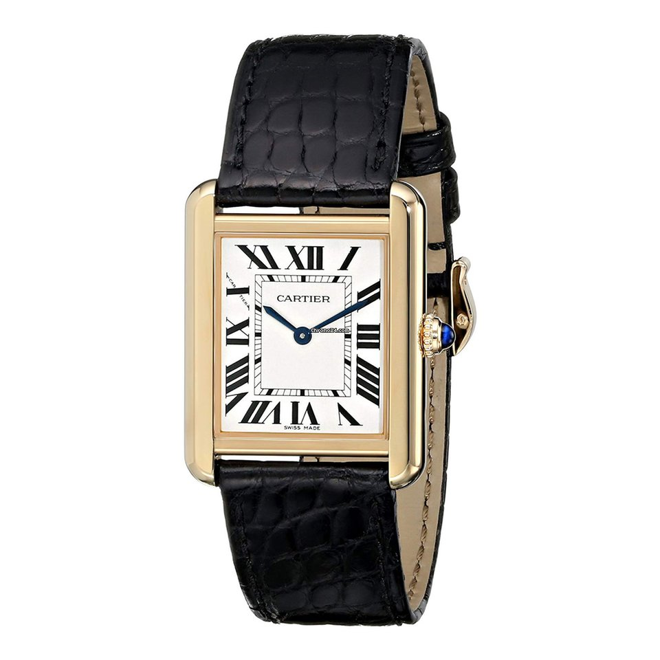 best service cc8b1 5e288 Cartier Tank Solo Large Model Yellow Gold Silvered Opaline Dial