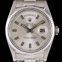 "Rolex 18k W/G Silver ""Wide Boy"" Baton Dial Day-Date..."
