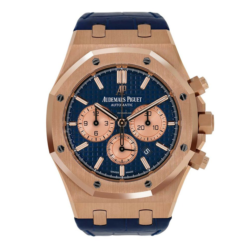 Audemars Piguet Royal Oak Chronograph 41mm Rose Gold Blue Dial Watch