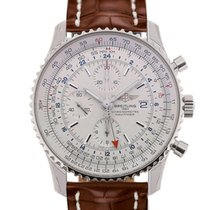 Breitling Navitimer World 46mm Chronograph Silver Dial Brown...