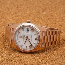 Rolex Rose gold Automatic White Roman numerals 40mm pre-owned Day-Date 40