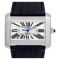 Cartier Steel Automatic White Roman numerals 38mm pre-owned Tank Divan