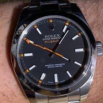 Rolex Milgauss Stahl 40mm Schwarz Keine Ziffern