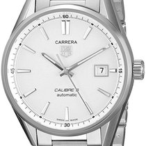 TAG Heuer Carrera Calibre 5 Silver Dial Automatic SS Men Watch...