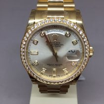 Rolex Yellow gold Automatic Silver No numerals 36mm new Day-Date 36