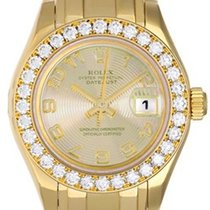 Rolex Pearlmaster pre-owned 29mm Champagne Yellow gold