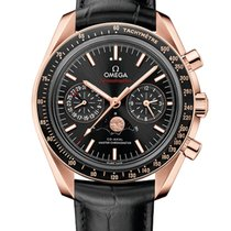 Omega Oro rosado Automático Negro 44mm nuevo Speedmaster Professional Moonwatch Moonphase