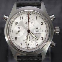 IWC Fliegeruhr Doppelchronograph gebraucht 42mm Silber Chronograph Doppelchronograph Datum Monatsanzeige Leder