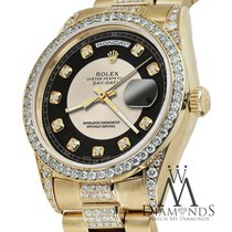 Rolex Presidential 36mm Day Date Silverblack Dial Diamond...