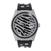 Rolex Datejust II 36mm  White Gold Bezel Black Diamond Dial...
