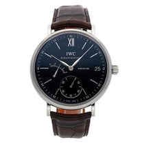 IWC Portofino Hand-Wound pre-owned 45mm Black Date Crocodile skin