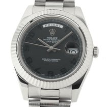 Rolex White gold Automatic Black Arabic numerals 41mm pre-owned Day-Date II
