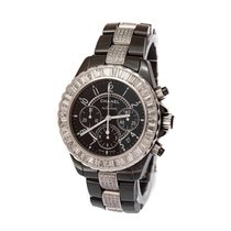 Chanel J12 factory diamonds baquette and bracelet chronograph 41 mm 2013 pre-owned
