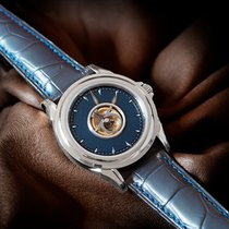 Omega De Ville Central Tourbillon White gold 38.4mm Blue