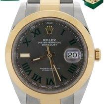 Rolex Datejust Gold/Steel 41mm Green Roman numerals