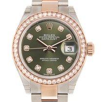 勞力士 Lady Datejust 18 K Rose Gold With Diamonds Green Automatic...