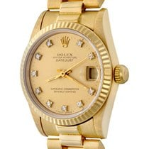 Rolex Yellow gold Automatic Champagne No numerals 30mm pre-owned Datejust