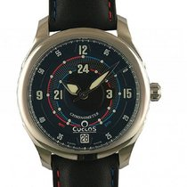 Cyclos Watch A.M. P.M. Dark Stahl Automatik Armband Leder 39mm...