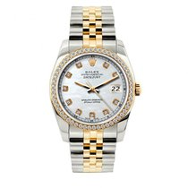 Rolex Datejust Men's 36mm White Mop Dial Yellow Gold And...