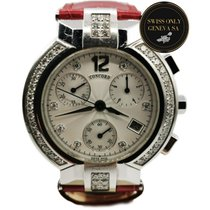 Concord La Scala pre-owned 39mm Silver Chronograph Date Leather
