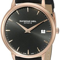 Raymond Weil Men's Toccata Rose Gold Case Black Leather Watch...