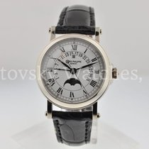 Patek Philippe Perpetual Calendar pre-owned 36mm White Moon phase Date Month Perpetual calendar Fold clasp