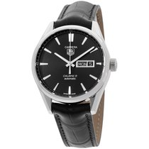 TAG Heuer Carrera Black Dial Leather Strap Men's Watch...