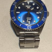 Seiko 5 Sports Staal Blauw Geen cijfers