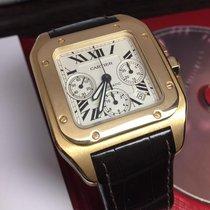 Cartier Santos 100 Żółte złoto 41mm Biały Rzymskie Polska, Poland
