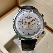 Glashütte Original Sixties Chronograph pre-owned 42mm Silver Chronograph Crocodile skin