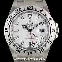 Rolex S/S O/P White Dial Red Hand Explorer II NOS B&P 16570