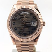Rolex Day Date Ii 41mm Rose Gold Chocolate Wave Complete Set...