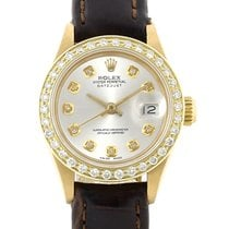 Rolex Yellow gold Automatic Silver No numerals 26mm pre-owned Lady-Datejust