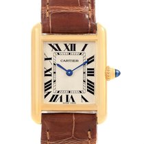 Cartier Tank Louis 18k Yellow Gold Brown Strap Ladies Watch...