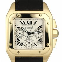 Cartier Santos 100 Yellow gold 42mm Champagne Roman numerals United States of America, New York, Lynbrook