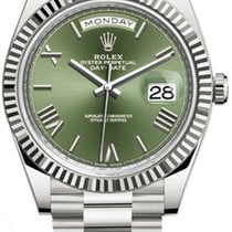 Rolex White gold Automatic Green Roman numerals 40mm new Day-Date 40