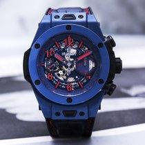 Hublot Big Bang Unico tweedehands 45mm Blauw Chronograaf Flyback-functie Rubber