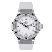 Hublot Big Bang 38 Stainless Steel with Diamonds White Strap