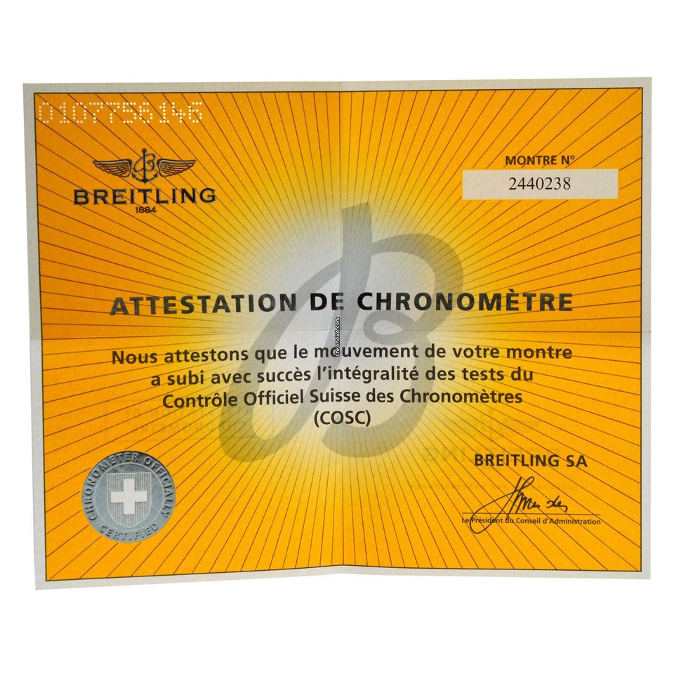 new concept 070d7 ffeb7 Breitling Authentic Chronometer Certificate Number 2440238