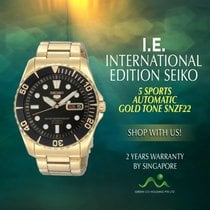Seiko Steel Automatic Black No numerals 42.5mm new 5 Sports