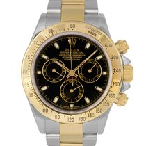 Rolex Daytona Steel & Gold Black Dial 116523 Papers Gold...