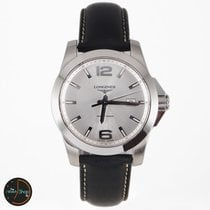 Longines Conquest Silver Dial Brown Leather Mens Watch